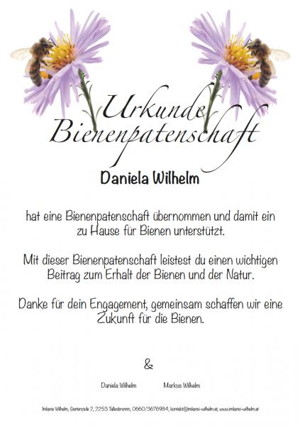Urkunde für eine Bienen-Patenschaft aus Österreich